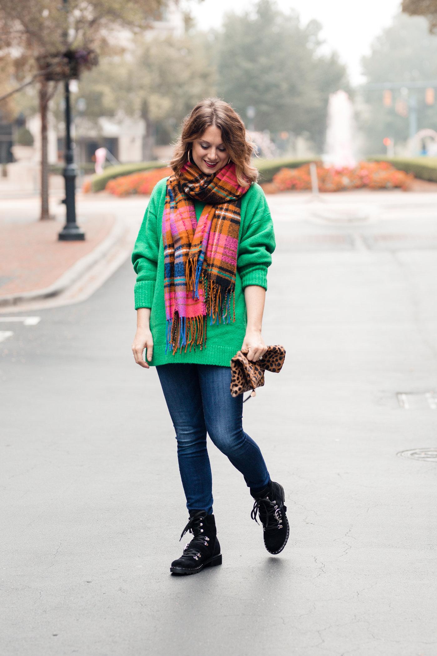 Pieces bright check scarf
