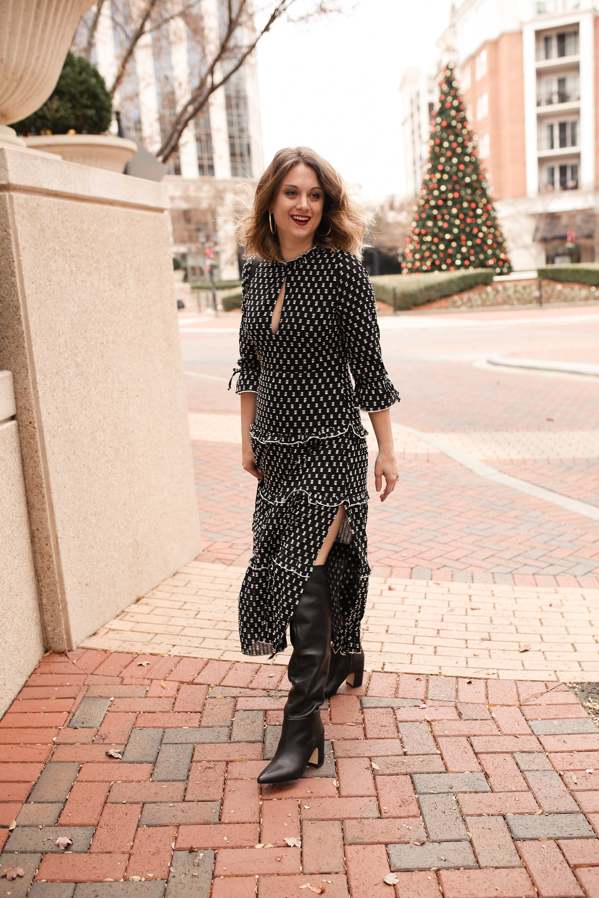 1c6aabe5553 How to Style a Midi Dress with Knee High Boots - Polished Closets