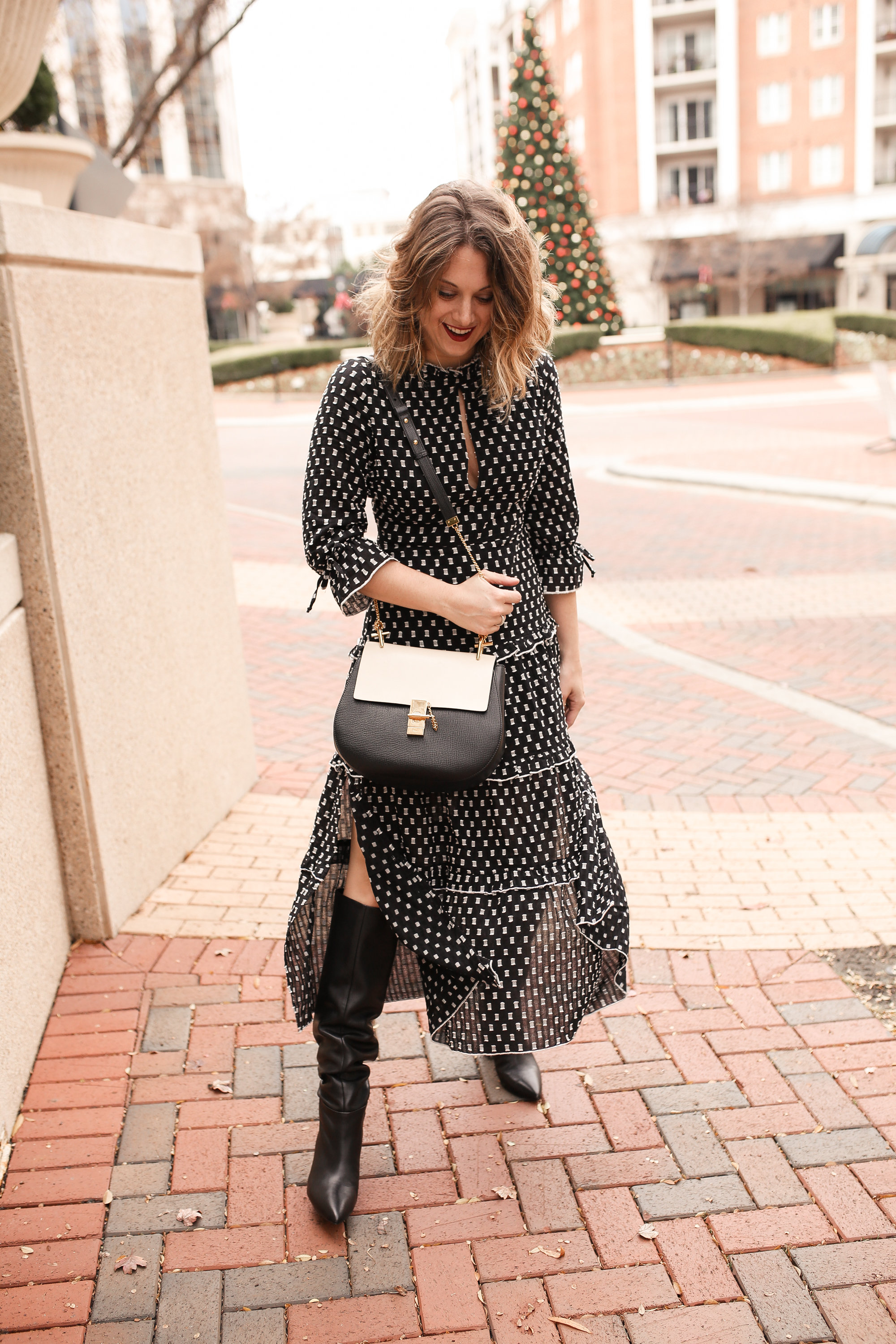 How to Style a Midi Dress with Knee High Boots , Polished