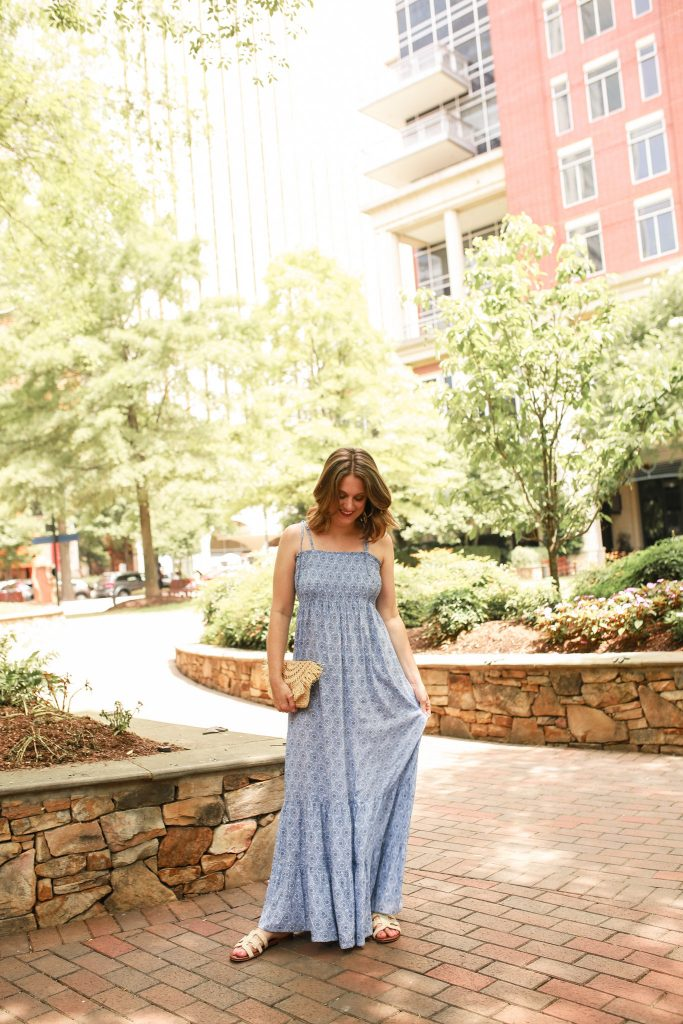 I paired my blue maxi dress with my favorite woven sandals