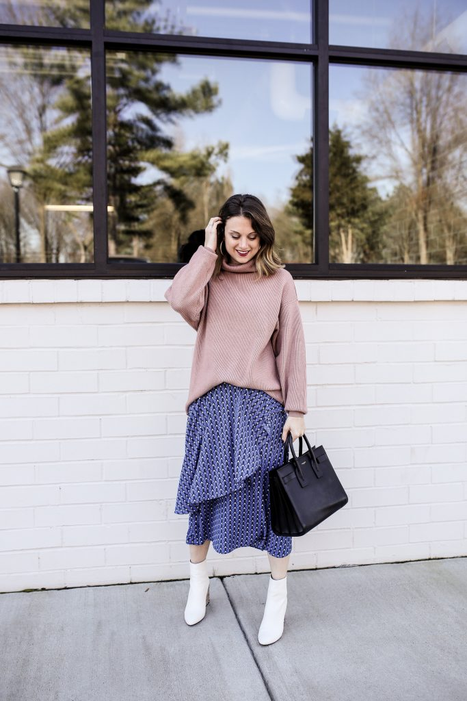 White Booties with a Sweater and Skirt