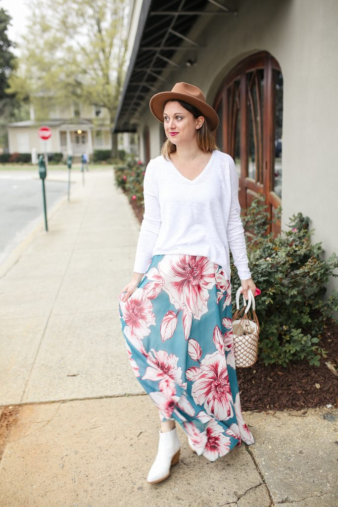 White Booties Outfits - White Booties with a Maxi Skirt