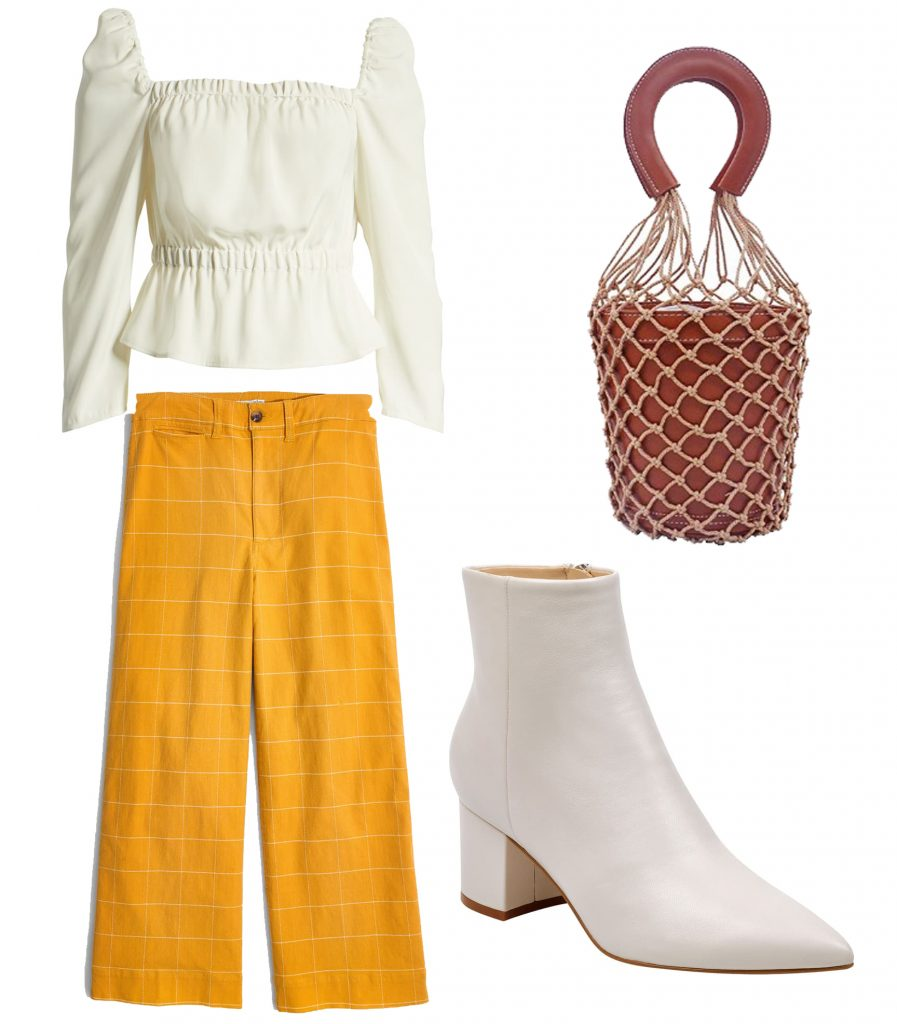 White Booties Outfits - White Booties and Wide Leg Jeans